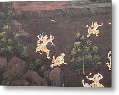 Mural - Grand Palace In Bangkok Thailand - 011312 Metal Print by DC Photographer