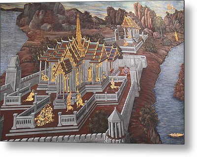 Mural - Grand Palace In Bangkok Thailand - 01135 Metal Print by DC Photographer