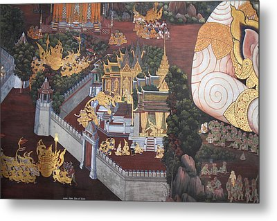 Mural - Grand Palace In Bangkok Thailand - 01139 Metal Print by DC Photographer