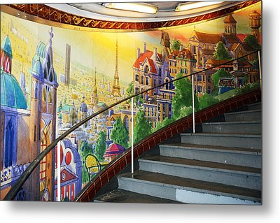 Mural In The Paris Metro Metal Print by Kathy Yates