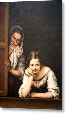 Murillo's Two Women At A Window Metal Print