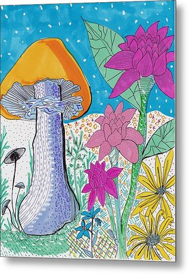 Murshroom Flowers And Fields Metal Print