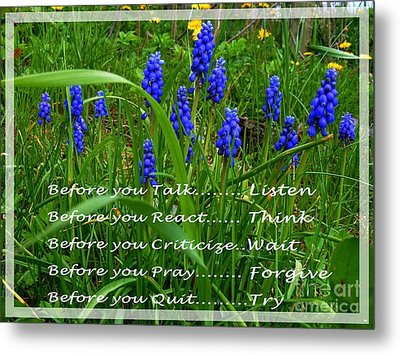 Muscari And Poem Metal Print by Barbara Griffin