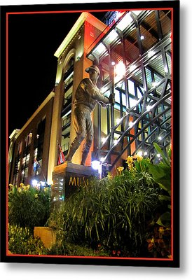 Metal Print featuring the photograph Musial Statue At Night by John Freidenberg