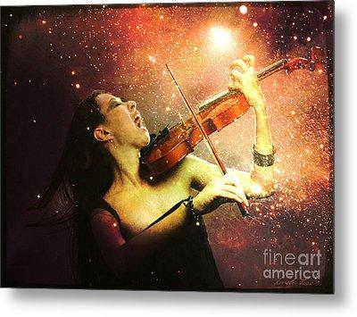 Music Explodes In The Night Metal Print by Linda Lees