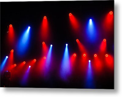 Music In Red And Blue - The Wonderful Sound Of Nightlife Metal Print by Georgia Mizuleva