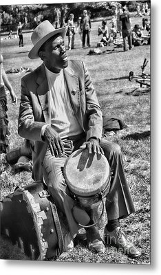 Music Man On Hippie Hill By Diana Sainz Metal Print by Diana Sainz