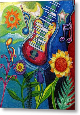 Music On Flowers Metal Print by Genevieve Esson