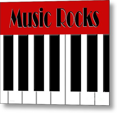 Music Rocks In Red Metal Print