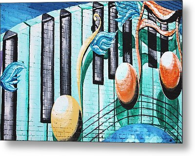 Musical Notes In Deep Ellum Metal Print by Lorri Crossno