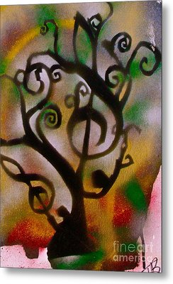 Musical Tree Golden Metal Print by Tony B Conscious