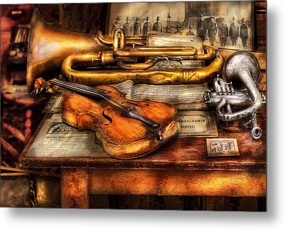 Musician - Horn - Two Horns And A Violin Metal Print by Mike Savad