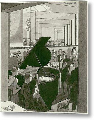 Musicians Entertain Patrons Metal Print by Pierre Mourgue
