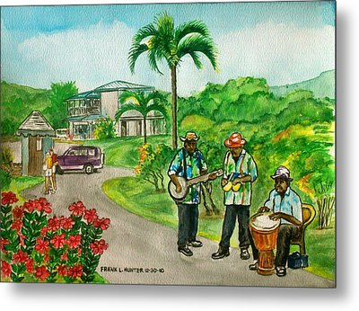 Musicians On Island Of Grenada Metal Print