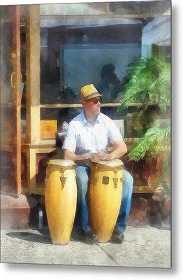 Musicians - Playing Bongo Drums Metal Print by Susan Savad