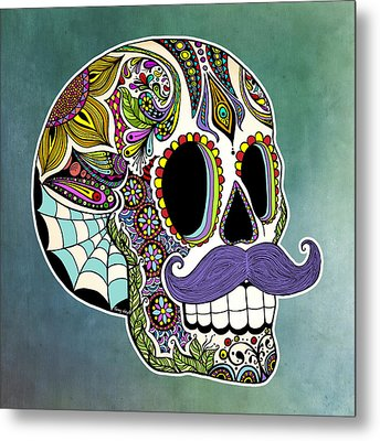 Mustache Sugar Skull Metal Print by Tammy Wetzel