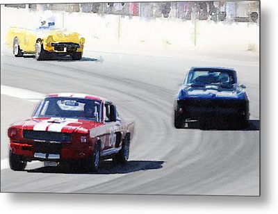 Mustang And Corvette Racing Watercolor Metal Print