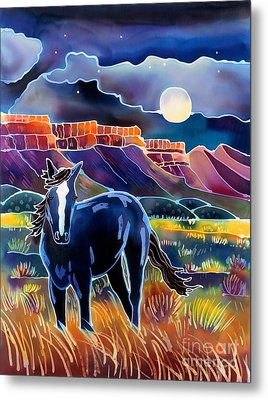 Mustang In The Moonlight Metal Print by Harriet Peck Taylor
