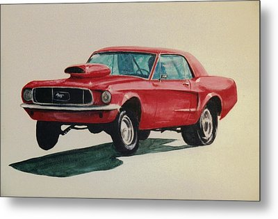 Metal Print featuring the painting Mustang Launch by Stacy C Bottoms