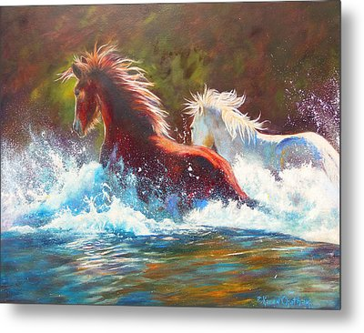 Metal Print featuring the painting Mustang Splash by Karen Kennedy Chatham