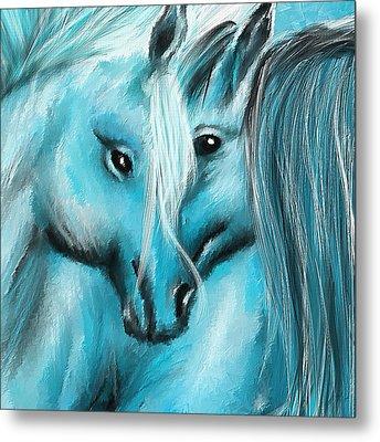 Mutual Companions- Fine Art Horse Artwork Metal Print by Lourry Legarde