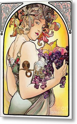 My Acrylic Painting As An Interpretation Of The Famous Artwork By Alphonse Mucha - Fruit Metal Print by Elena Yakubovich