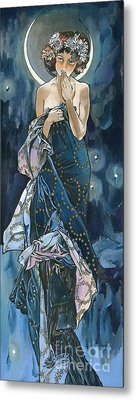 My Acrylic Painting As An Interpretation Of The Famous Artwork Of Alphonse Mucha - Moon - Metal Print by Elena Yakubovich
