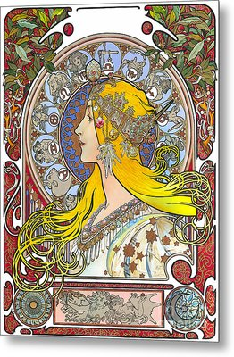 My Acrylic Painting As An Interpretation Of The Famous Artwork Of Alphonse Mucha - Zodiac - Metal Print by Elena Yakubovich