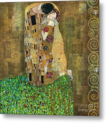 My Acrylic Painting As An Interpretation Of The Famous Artwork Of Gustav Klimt The Kiss - Yakubovich Metal Print by Elena Yakubovich