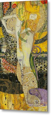 My Acrylic Painting As An Interpretation Of The Famous Artwork Of Gustav Klimt - Water Serpents I Metal Print by Elena Yakubovich