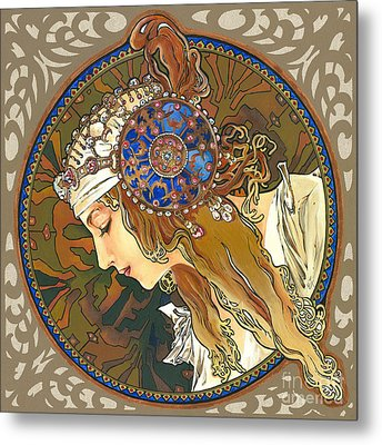 My Acrylic Painting As Interpretation Of Alphonse Mucha- Byzantine Head. The Blonde. Diagonal Frame. Metal Print by Elena Yakubovich