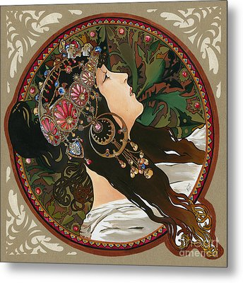 My Acrylic Painting As Interpretation Of Alphonse Mucha - Byzantine Head The Brunette Diagonal Frame Metal Print by Elena Yakubovich