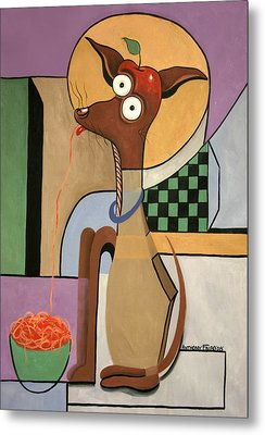 My Apple Head Chihuahua Metal Print by Anthony Falbo