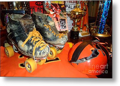 My Battle Scarred Roller Derby Skates And Helmet   Metal Print by Jim Fitzpatrick