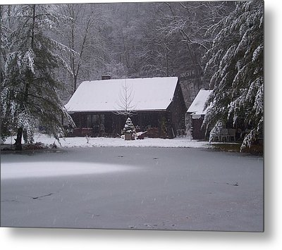 My Cabin In Winter Metal Print