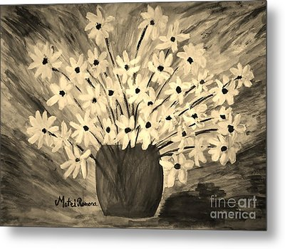 My Daisies Sepia Version Metal Print by Ramona Matei