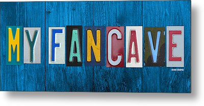 My Fancave License Plate Letter Vintage Phrase Artwork On Blue Wood Metal Print by Design Turnpike