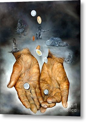 Metal Print featuring the painting My Father's Hands - Survival by Anna-Maria Dickinson