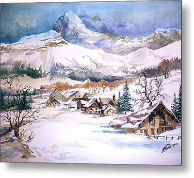 My First Snow Scene Metal Print