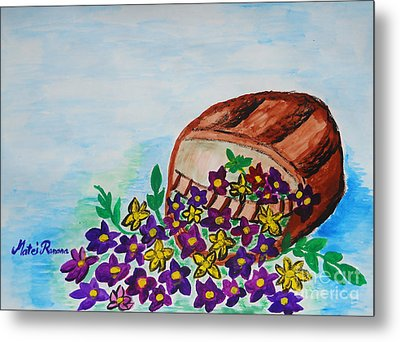 Metal Print featuring the painting My Flower Basket by Ramona Matei