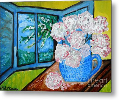 My Grandma S Flowers   Metal Print by Ramona Matei