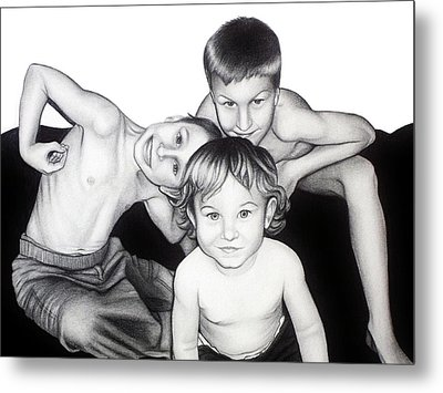 Metal Print featuring the drawing My Guys In 2010 by Danielle R T Haney