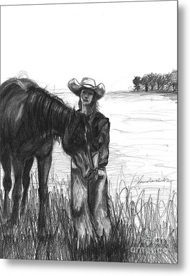 Metal Print featuring the drawing My Heart Is Big But It Beats Quiet by J Ferwerda