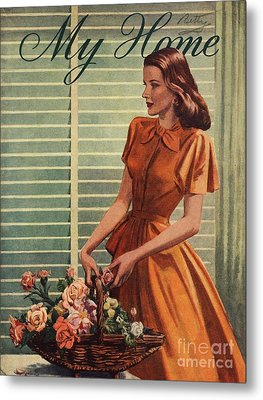 My Home 1940s Uk Womens Flowers Metal Print by The Advertising Archives