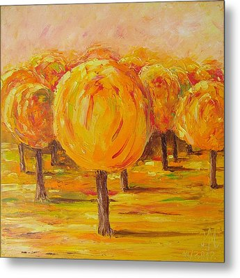 Metal Print featuring the painting My Hot Autumn by Nina Mitkova