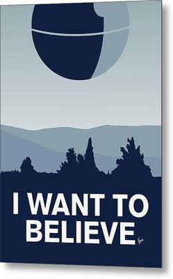 My I Want To Believe Minimal Poster-deathstar Metal Print by Chungkong Art