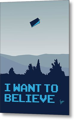My I Want To Believe Minimal Poster- Tardis Metal Print