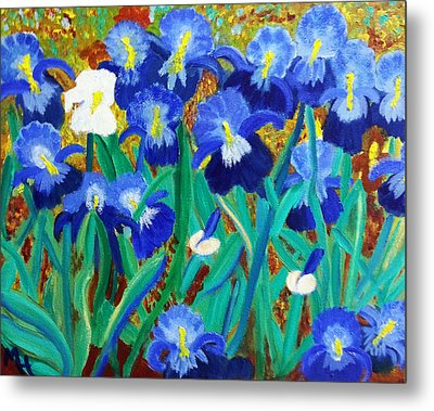 My Iris - Inspired  By Vangogh Metal Print
