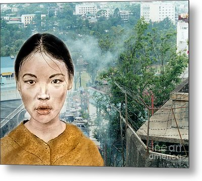 My Kuiama A Young Vietnamese Girl Version II Metal Print by Jim Fitzpatrick