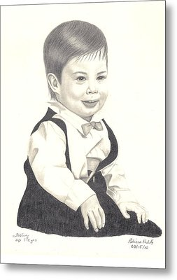 Metal Print featuring the drawing My Little Boy by Patricia Hiltz